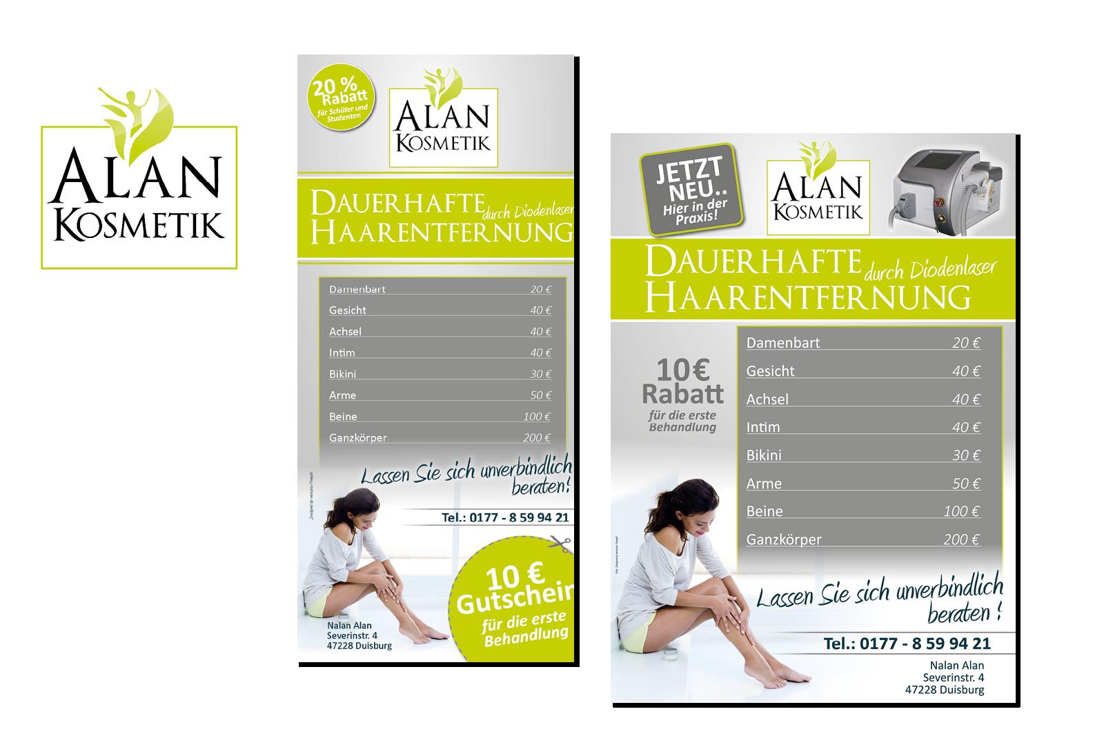 Dauerhafte Haarentfernung Logo Flyer und Plakat