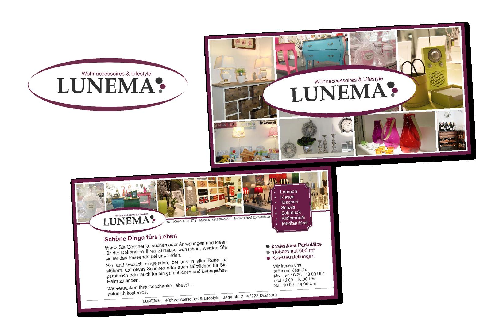 Lunema Wohnaccessoires und Lifestyle Logo und Flyer