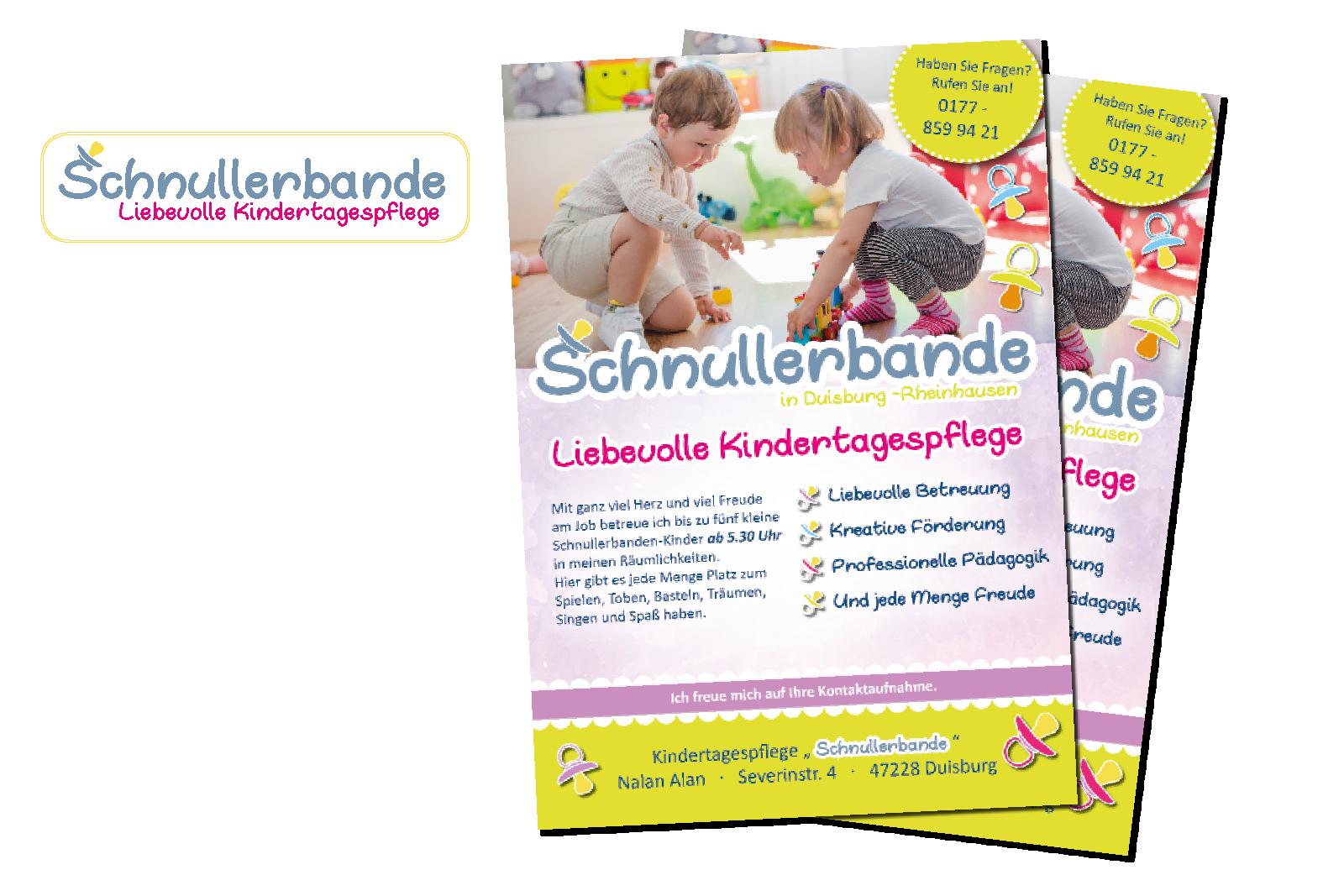 Schnullerbande Kindertagespflege Logo und Flyer